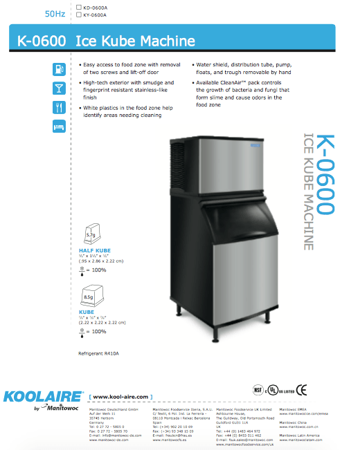 K-0600 Ice Machine